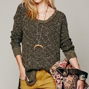 Free People Green Jeepster Honeycomb Knit Sweater